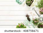 gardening tools  flowers in...   Shutterstock . vector #408758671