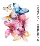 Stock photo watercolor butterflyand bouquets spring flowers in pot rustic outdoor floral set shabby chic 408766084