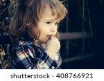 little boy child eating biscuit ... | Shutterstock . vector #408766921