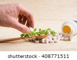 medicine herb. herbal pills in... | Shutterstock . vector #408771511