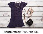purple t shirt and beige... | Shutterstock . vector #408785431