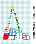 christmas tree with gifts on... | Shutterstock .eps vector #40878784
