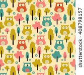seamless owl pattern with trees | Shutterstock .eps vector #408798157