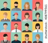 face man woman head profile ...   Shutterstock . vector #408799561