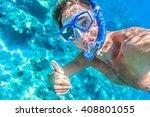 snorkeling man underwater... | Shutterstock . vector #408801055