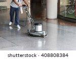 woman worker cleaning the floor ... | Shutterstock . vector #408808384