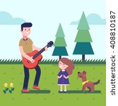 father playing guitar music to...   Shutterstock .eps vector #408810187