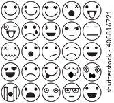 set of outline emoticons  emoji ... | Shutterstock .eps vector #408816721