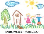 Child's Drawing Of Family And...