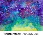 galaxy cosmic space hand... | Shutterstock . vector #408832951