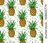 bright pineapples. vector... | Shutterstock .eps vector #408833779