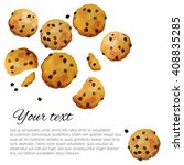 vector cookies with chocolate... | Shutterstock .eps vector #408835285