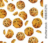 vector seamless pattern cookies ... | Shutterstock .eps vector #408835291
