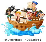group of pirate on the ship | Shutterstock . vector #408835951