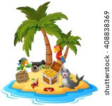 illustration of treasure island  | Shutterstock .eps vector #408838369