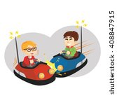 Boy Playing Bumper Car With...