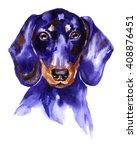 Watercolor Dog Dachshund