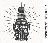 retro typography vector bottle... | Shutterstock .eps vector #408880615