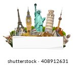 famous monuments of the world... | Shutterstock . vector #408912631