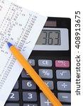 a calculator with receipt ... | Shutterstock . vector #408913675