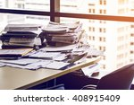 busy office with stack document ... | Shutterstock . vector #408915409
