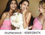 happy gorgeous brunette bride... | Shutterstock . vector #408928474