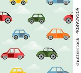 seamless pattern with cars and... | Shutterstock .eps vector #408929209