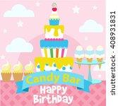 happy birthday card design... | Shutterstock .eps vector #408931831