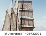 Marine sails and rigging details of traditional three masted barquentine yacht, square rigged on the foremast