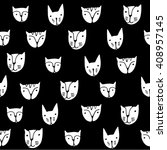 cute monochrome cats faces.... | Shutterstock .eps vector #408957145