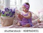 Baby Girl In Lavender Dress...