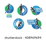 marathon vector logo set with... | Shutterstock .eps vector #408969694