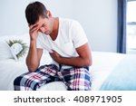 young man sitting with stomach... | Shutterstock . vector #408971905