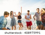 friends dancing on the beach on ... | Shutterstock . vector #408975991