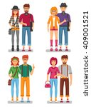 hipster couples concept of... | Shutterstock .eps vector #409001521