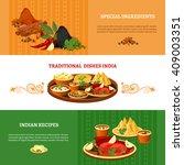 indian cuisine 3 flat banners... | Shutterstock .eps vector #409003351