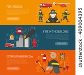 firefighters 3 flat horizontal... | Shutterstock .eps vector #409004395