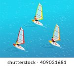 windsurfer on a board for... | Shutterstock .eps vector #409021681