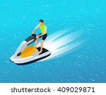 young man on jet ski  tropical... | Shutterstock .eps vector #409029871