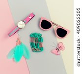 ladies fashion accessories....   Shutterstock . vector #409032205