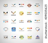 handshake icons set isolated on ... | Shutterstock .eps vector #409035625