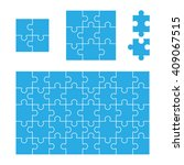 puzzle template in blue color... | Shutterstock .eps vector #409067515