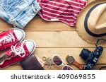 travel clothing accessories... | Shutterstock . vector #409069855