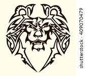 lion tattoo.the lions bares his ... | Shutterstock .eps vector #409070479