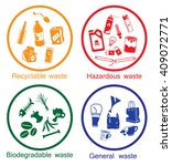 colorful waste types icon set ... | Shutterstock .eps vector #409072771