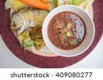 Stock photo fried mackerel with shrimp paste sauce and scald vegetable nam prik kapi pla too 409080277