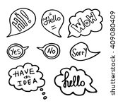 hand drawn speech bubbles with... | Shutterstock .eps vector #409080409