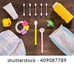 japanese diapers  wet wipes ... | Shutterstock . vector #409087789