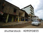 Small photo of Chone, Ecuador - April, 18, 2016: Two story house collapsed wall after 7.8 earthquake
