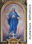 Small photo of ZAGREB, CROATIA - SEPTEMBER 14: Our Lady, altarpiece in the Basilica of the Sacred Heart of Jesus in Zagreb, Croatia on September 14, 2015